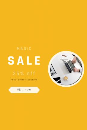 Portrait design template for sales - #banner #businnes #sales #CallToAction #salesbanner #casino #shapes #coffee #technology #tablet #working #computer #apple #desk