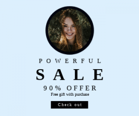 Square large web banner template for sales - #banner #businnes #sales #CallToAction #salesbanner #green #girl #smile #shape #circles #portrait #interface #eye