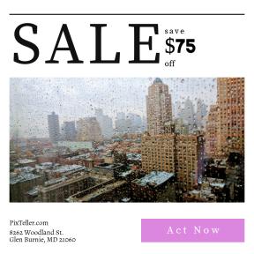Image design template for sales - #banner #businnes #sales #CallToAction #salesbanner #architecture #raindrop #cityscape #raining #dark
