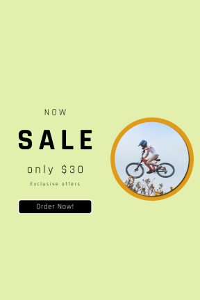 Portrait design template for sales - #banner #businnes #sales #CallToAction #salesbanner #person #young #float #bike #squares