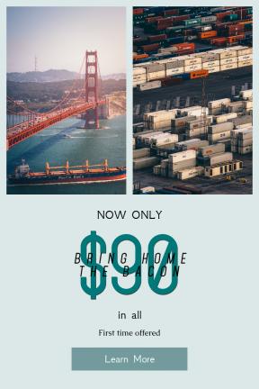 Portrait design template for sales - #banner #businnes #sales #CallToAction #salesbanner #ocean #ship #mountain #boat #bridge #creative #container #water
