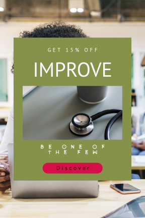Portrait design template for sales - #banner #businnes #sales #CallToAction #salesbanner #portrait #woman #cup #stethoscope #listen