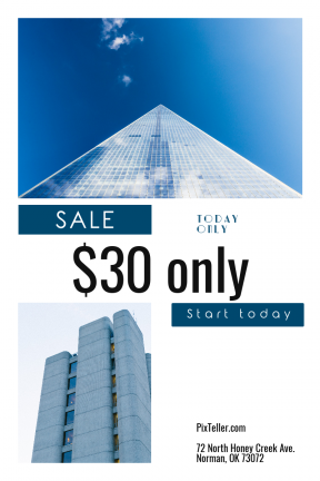 Portrait design template for sales - #banner #businnes #sales #CallToAction #salesbanner #sunshine #tower #squares #tall #white #window #structure