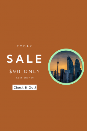 Portrait design template for sales - #banner #businnes #sales #CallToAction #salesbanner #urban #streets #toronto #cityscape #tower #dusk #orange #building #canada #ontario