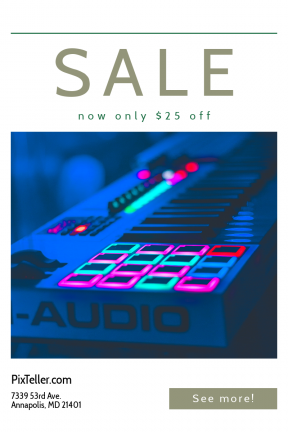 Portrait design template for sales - #banner #businnes #sales #CallToAction #salesbanner #buttons #pink #music #instrument #blue #praise #red #technology #contemporary