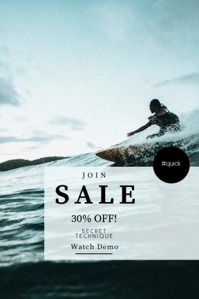Portrait design template for sales - #banner #businnes #sales #CallToAction #salesbanner #travel #surfboard #ocean #sport #surfing #person #surf #beach