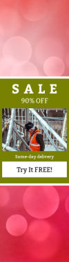 Skyscraper wide web banner template for sales - #banner #businnes #sales #CallToAction #salesbanner #red #sky #dressed #industry #worker #scaffolding