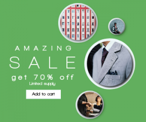 Square large web banner template for sales - #banner #businnes #sales #CallToAction #salesbanner #professional #african #helping #suit #tie #hand #flat