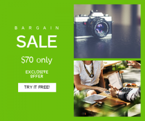 Square large web banner template for sales - #banner #businnes #sales #CallToAction #salesbanner #cafe #laptop #photograph #phone #urban #photographer #woman