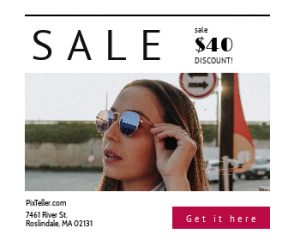 Square large web banner template for sales - #banner #businnes #sales #CallToAction #salesbanner #lady #people #brunette #sunglasses #woman #glasses #looking