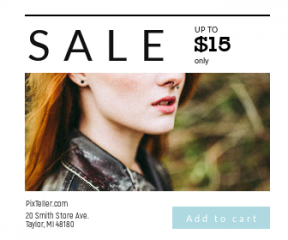 Square large web banner template for sales - #banner #businnes #sales #CallToAction #salesbanner #female #woman #redhead #ring #makeup #business #nose #girl #portrait