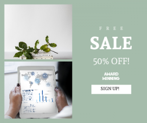 Square large web banner template for sales - #banner #businnes #sales #CallToAction #salesbanner #tablet #workspace #marketing #plant #technology