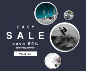 Square large web banner template for sales - #banner #businnes #sales #CallToAction #salesbanner #woman #surfing #landscape #flatlay #white #corporate #and #beach #boardsport