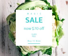 Square large web banner template for sales - #banner #businnes #sales #CallToAction #salesbanner #wooden #white #leaves #eat #table #vegetable #vegan #green #fresh