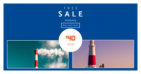 Card design template for sales - #banner #businnes #sales #CallToAction #salesbanner #lighthouse #seaside #power #smooke #shipping #pollution #dorset #sky #coast