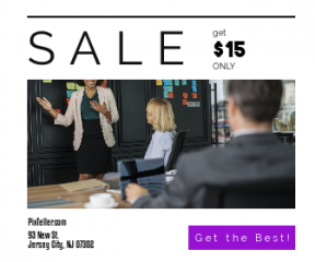 Square large web banner template for sales - #banner #businnes #sales #CallToAction #salesbanner #sticky #strategy #business #recruitment #businessman #presentation #person #note #meeting #work
