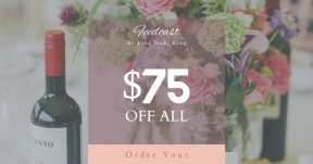 Card design template for sales - #banner #businnes #sales #CallToAction #salesbanner #bouquet #alchohol #bottle #table #wine #number #flower #decor