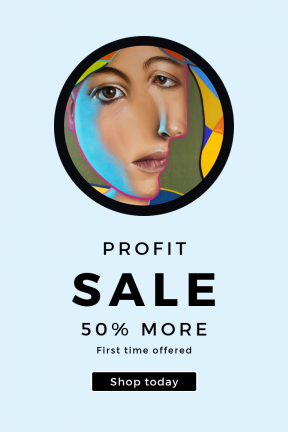 Portrait design template for sales - #banner #businnes #sales #CallToAction #salesbanner #shapes #shape #nose #squares #silhouette #geometric #close #yellow #smile #face