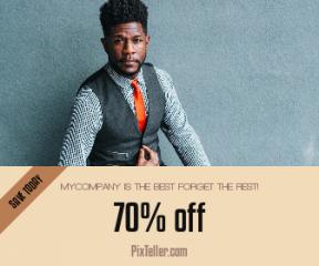 Square large web banner template for sales - #banner #businnes #sales #CallToAction #salesbanner #vest #seat #portrait #man #headshot #business #tie #suit #bench