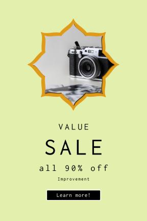 Portrait design template for sales - #banner #businnes #sales #CallToAction #salesbanner #background #rectangles #shape #corners #camera #bands #equipment #prints #old #stars