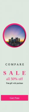 Skyscraper wide web banner template for sales - #banner #businnes #sales #CallToAction #salesbanner #ocean #urban #skyline #cityscape #angeles #californium #sunset #skyscraper #lights