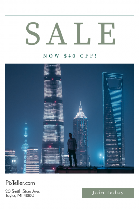 Portrait design template for sales - #banner #businnes #sales #CallToAction #salesbanner #light #shanghai #evening #male #tall #skyscraper #building