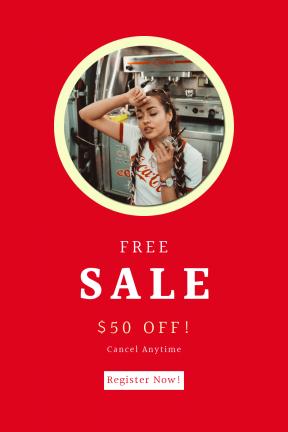 Portrait design template for sales - #banner #businnes #sales #CallToAction #salesbanner #product #cola #hair #shoulder #coca #shirt #girl