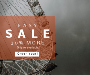 Square large web banner template for sales - #banner #businnes #sales #CallToAction #salesbanner #wheel #rain #automation #london #ferris #storm #overcast #eye