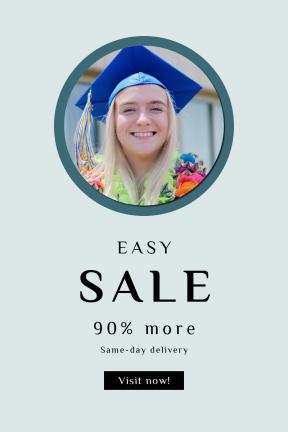 Portrait design template for sales - #banner #businnes #sales #CallToAction #salesbanner #goal #caucasian #education #graduate #learning #rainbow #woman