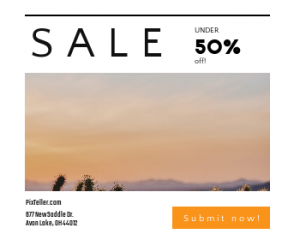 Square large web banner template for sales - #banner #businnes #sales #CallToAction #salesbanner #orange #sunset #sport #desert #gradient #wild