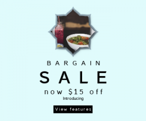 Square large web banner template for sales - #banner #businnes #sales #CallToAction #salesbanner #meal #bokeh #clouds #ribbon #scalloped #juice #restaurant #rounded #shape #table