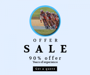 Square large web banner template for sales - #banner #businnes #sales #CallToAction #salesbanner #bicycle #shapes #symbol #speed #bicycling #athlete #person #black #orange #bokeh