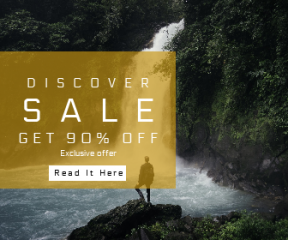 Square large web banner template for sales - #banner #businnes #sales #CallToAction #salesbanner #outdoor #waterfall #tropical #water #travel