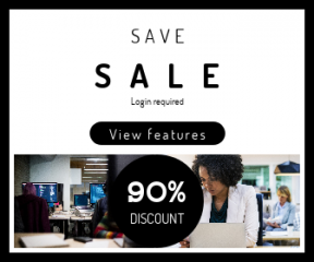 Square large web banner template for sales - #banner #businnes #sales #CallToAction #salesbanner #website #woman #code #business #computer #software #space #employee #geometry #people