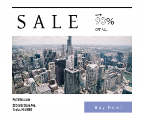 Square large web banner template for sales - #banner #businnes #sales #CallToAction #salesbanner #city #corporate #urban #skyline #perspective #birds-eye