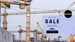 FullHD image template for sales - #banner #businnes #sales #CallToAction #salesbanner #safety #professional #worker #steel #site #crane #work #construction