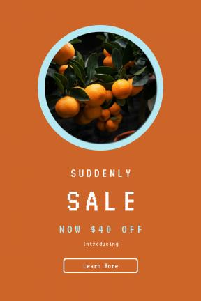 Portrait design template for sales - #banner #businnes #sales #CallToAction #salesbanner #orange #shape #juicy #squares #rounded #tree #price