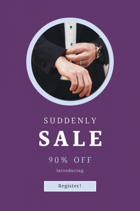 Portrait design template for sales - #banner #businnes #sales #CallToAction #salesbanner #watch #face #caucasian #suit #man #square #buttons #bokeh