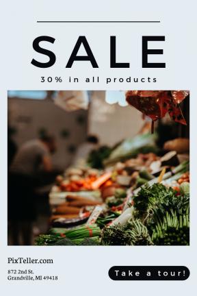 Portrait design template for sales - #banner #businnes #sales #CallToAction #salesbanner #drink #shapes #circle #shape #produce #price #market #vegetable