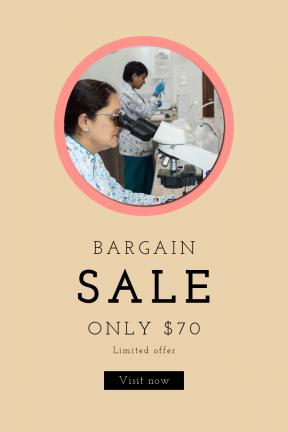 Portrait design template for sales - #banner #businnes #sales #CallToAction #salesbanner #medical #woman #hospital #through #medicine #clinica #nurse #microscopio #doctor