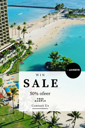 Portrait design template for sales - #banner #businnes #sales #CallToAction #salesbanner #palm #boat #tree #grass #building #vacation #sea #beach