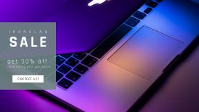 FullHD image template for sales - #banner #businnes #sales #CallToAction #salesbanner #minimal #purple #touchpad #keyboard #laptop #macbook #technology #business #screen #work