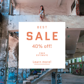 Image design template for sales - #banner #businnes #sales #CallToAction #salesbanner #graffiti #empty #factory #woman #stairs #steps