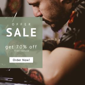Image design template for sales - #banner #businnes #sales #CallToAction #salesbanner #human #man #tattooer #card #ink #glove