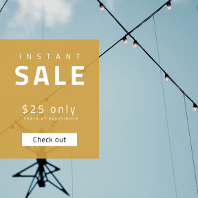 Image design template for sales - #banner #businnes #sales #CallToAction #salesbanner #blue #string #wire #cable #bulb #street #electric #line #view #sky