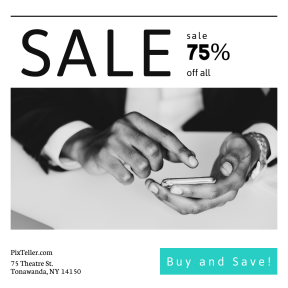 Image design template for sales - #banner #businnes #sales #CallToAction #salesbanner #person #phone #wireless #black #connect #technology #smart #desk #using