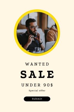 Portrait design template for sales - #banner #businnes #sales #CallToAction #salesbanner #ragged #background #colleague #work #strips #bracket #scalloped #monitor