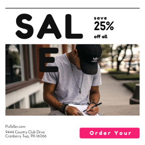 Image design template for sales - #banner #businnes #sales #CallToAction #salesbanner #black #millenial #write #button #note #male #portrait #american #controls