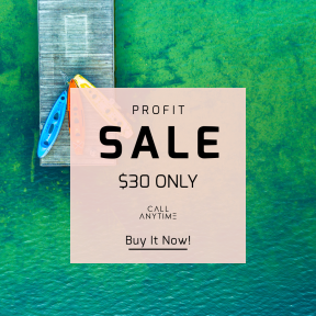 Image design template for sales - #banner #businnes #sales #CallToAction #salesbanner #canoe #city #view #green #yellow #drone #pier #lake