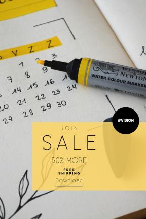 Portrait design template for sales - #banner #businnes #sales #CallToAction #salesbanner #black #white #september #flatlay #planner #handlettering #card #journal #drawing